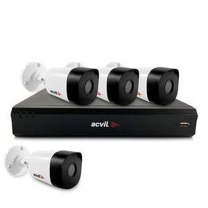 Sistem supraveghere exterior basic Acvil Pro ACV-B4EXT20-5MP-V2, 4 camere, 5 MP, IR 20 m, 2.8 mm, POS imagine