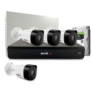Sistem supraveghere exterior middle Acvil Pro ACV-M4EXT20-5MP-V2, 4 camere, 5 MP, IR 20 m, 2.8 mm, POS, audio prin coaxial imagine