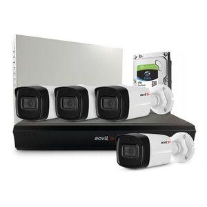 Sistem supraveghere exterior middle Acvil Pro ACV-M4EXT80-2MP-A-V2, 4 camere, 2 MP, IR 80 m, 3.6 mm, audio prin coaxial, PoS, microfon imagine