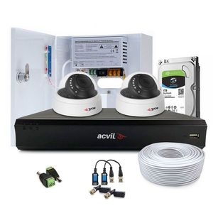 Sistem supraveghere interior complet Acvil Pro ACV-C2INT20-2MP, 2 camere, 2 MP, IR 20 m, 3.6 mm, POS, audio prin coaxial imagine