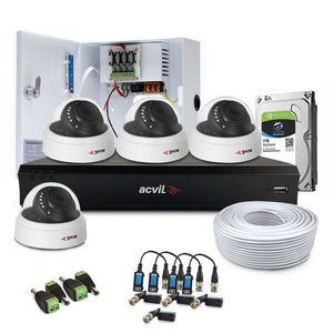 Sistem supraveghere interior complet Acvil Pro ACV-C4INT20-2MP, 4 camere, 2 MP, IR 20 m, 3.6 mm, POS, audio prin coaxial imagine