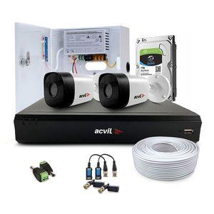 Sistem supraveghere exterior complet Acvil Pro ACV-C2EXT20-5MP-V2, 2 camere, 5 MP, IR 20 m, 2.8 mm, PoS, audio prin coaxial imagine