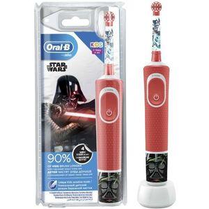 Periuta de dinti electrica pentru copii Oral-B D100 Vitality Star Wars, Curatare 2D, Aplicatia Disney MagicTimer, 2 Programe, 1 Capat (Rosu) imagine
