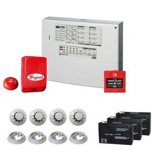 Sistem complet antiincendiu conventional Bentel J-408-4, 4 zone, max 128 detectori, 4 detectori fum imagine
